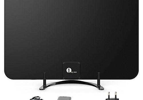 28 dB Aktive HDTV Antenne mit abnehmbarem Verstärker 1byone Super-Flat DVB-T Zimmerantenne für DVB-T/DVB-T2 kompatible Fernseher, Extra Dünne Zimmerantenne mit Ständer, 3 Meter Koaxial Kabel, Schwarz