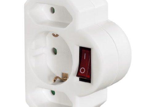 Hama 3-fach Steckdosenadapter mit Schalter Multistecker 2 x Euro-/1x Schutzkontakt Steckdose, Adapterstecker, Doppelstecker weiß