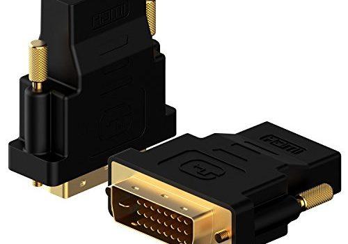 DVI auf HDMI, Rankie 2-Stück Vergoldet 1080P DVI-D zu HDMI Male zu Female Kabel HDTV Adapter Konverter Schwarz