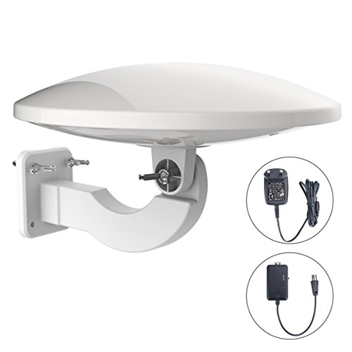 1byone 32dB Aktive Außenantenne mit Verstärker, Dachantenne Empfang von HDTV, DVB-T/DVB-T2 und Analogen Signalen, Mit Eingebautem 4G LTE Filter