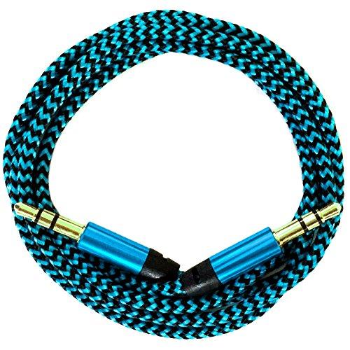 i!® 0,2m/20cm Premium Nylon AUX Audiokabel Klinke 3,5 auf Klinke 3,5 @ blau