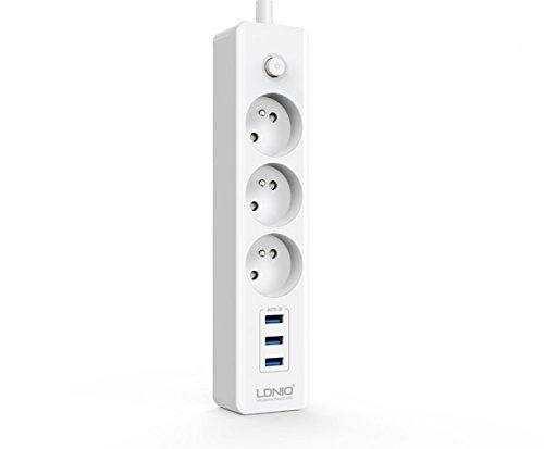 LDNIO 3 fach Steckdosenleiste Steckdosen Verteilersteckdose Strom Verteiler + 3 USB Port 3.1A 3100 mA Ladegerät mit Schalter
