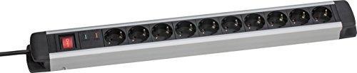 Schwabe 18350 10fach Überspannungs-Aluminium-Steckdosenleiste mit Schalter und Kinderschutz, 1.5 m H05VV-F 3G1.5, IP20 Innenbereich – as