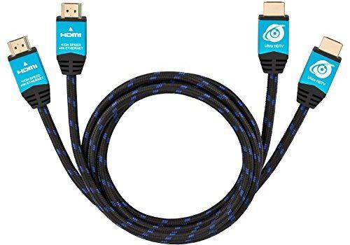 Ultra HDTV Premium 4K HDMI Kabel 2x 2m / HDMI 2.0b, 4K bei vollen 60Hz keine Ruckler, HDR, 3D