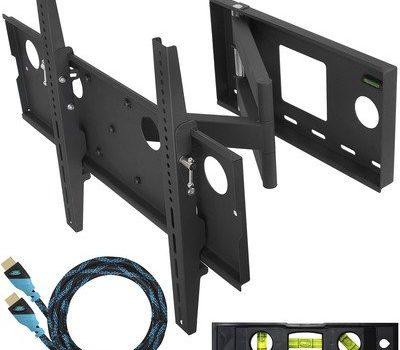 """Cheetah Mounts APSAMB TV Wandhalterung für 81- 165cm 32- 65"""" Fernseher. Halterung voll Beweglich Schwenkbar Neigbar für LCD, LED Flachbildschirm Monitor und TVs. Passend für fast alle Bildschirme mit VESA/ Lochmuster max. 400×684 und max. 74KG. Wandhalter Schwarz mit 3m HDMI Kabel mit Ethernet"""