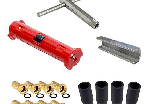 HB-Digital Sat Montage Set Abisolierer Montageschlüssel Aufdrehhilfe + 8x HQ F-Stecker vergoldet mit Wasserschutz + 4x Gummitülle Werkzeugset