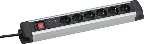 as – Schwabe 18356 6fach Überspannungs-Aluminium-Steckdosenleiste mit Schalter und Kinderschutz, 1.5 m H05VV-F 3G1.5, IP20 Innenbereich