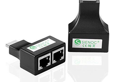SIENOC Cat5 /Cat6 RJ45 Kupplung 8P8C Netzwerkkabel Verbinder geschirmt Buchse auf RJ45 Buchse Schwarz HDMI zu Duan RJ45