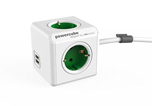 allocacoc PowerCube DuoUSB Extended Grün EU, 4 fach Steckdosenverteiler mit 2,1 A USB Ladestrom, Weiß Grün