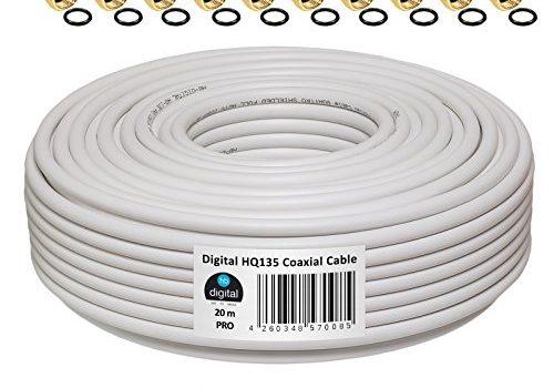 130dB 20m Koaxial SAT Kabel HQ-135 PRO 4-fach geschirmt für DVB-S / S2 DVB-C und DVB-T BK Anlagen + 10 vergoldete F-Stecker SET Gratis dazu