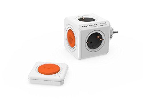 allocacoc Eco PowerCube Remote Original mit Fernbedienung, schaltbare 4 fach Steckdose zum Stromsparen, 230V Schuko