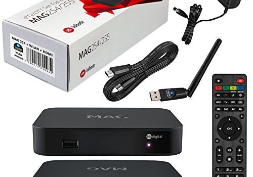 MAG 254 Original IPTV SET TOP BOX Multimedia Player Internet TV IP Receiver + Großer WLAN Stick + HB Digital HDMI Kabel