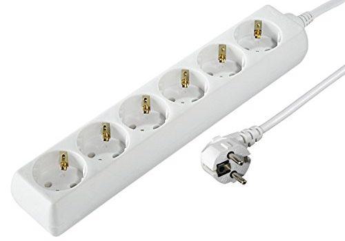 Hama Steckdosenleiste 6-fach 1,4m Kabelllänge, 45 Grad gedreht, Kindersicherung, Mehrfachsteckdose weiß