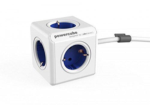 allocacoc PowerCube Extended Blau EU, 5x Steckdose und Verteiler, 230V Schuko, Weiß Blau