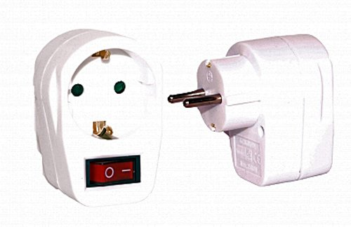 Steckdosenschalter 250V – 3500W mit Kindersicherung für Schuko Steckdosen in weiss / abschaltbar / stromsparend – GS geprüfte Sicherheit