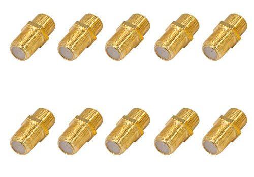 8,2mm für Koaxial Antennenkabel Sat Kabel BK Anlagen – 10x F-Verbinder Buchse / Buchse Vergoldet HQ für F-Stecker jeder Größe 4