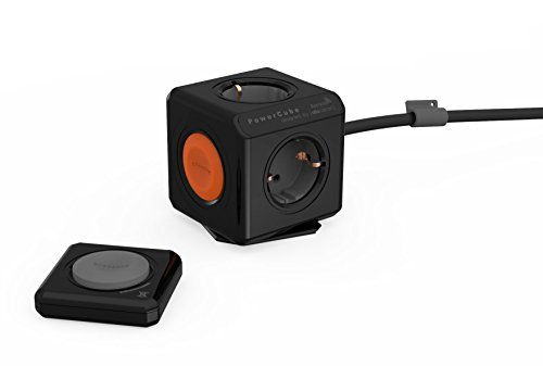 allocacoc Eco PowerCube Remote Extended Schwarz mit Power Remote – Fernbedienung, 4-fach Steckdose zum Stromsparen, 230V Schuko, schwarz