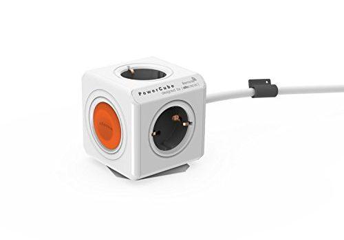 allocacoc Eco PowerCube Remote Extended mit Schalter, 4 fach Steckdose zum Stromsparen, 230V Schuko