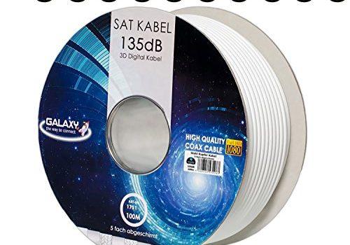 135dB 100m HB DIGITAL Koaxial SAT Kabel 5-fach geschirmt für Ultra HD 4K DVB-S / S2 DVB-C und DVB-T BK Anlagen + 10 vergoldete F-Stecker SET Gratis dazu