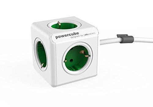 allocacoc PowerCube Extended EU, 5x Steckdose und Verteiler, 230V Schuko, Weiß Grün