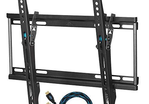 Wandhalterung von Cheetah Mount APTMSB für Display 32–55'80–140cm flach, LCD, LED, bis zu einem VESA 400x 400. Inklusive Ein HDMI-Kabel Geflochten von Twisted Veins 4K, 3D Kompatibel Ethernet 3-Meter und Q ein Wasserwaage 3Achsen