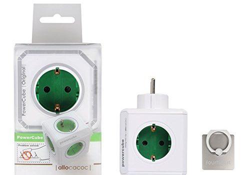 Keine USB habe, 360° drehbare Ringhalterung Halterung / Ständer für Handy – Allocacoc PowerCube Original Steckdosenleiste Reiseadapter 5x Steckdose und Verteiler, 230V Schuko Grün