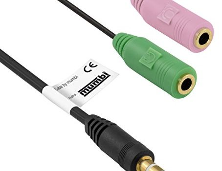 mumbi PC-Headset Adapter Kabel für Stereo PC-Kopfhörer, 2x 3,5mm Buchse an 3,5mm Klinke, 4-polig