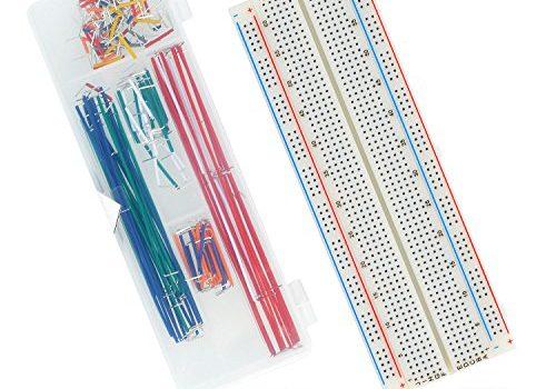 Neuftech MB102 Breadboard Kit- 830 Kontakte Steckbrett + 140 Stk. male-male Jumper Kabel Steckbrücken für Raspberry Pi Arduino
