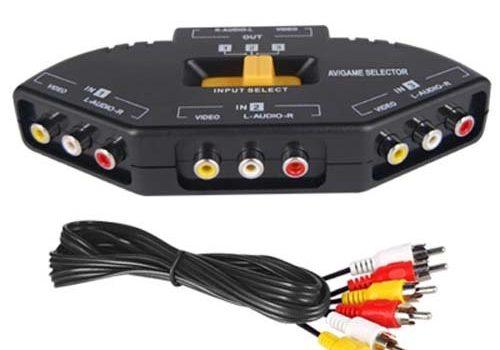 DIGIFLEX AV Cinch Video/Audio Switch Hub mit 3 Input-Anschlüssen für Xbox 360, PS2 & DVD-Player – cinch verteiler Kabel