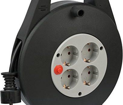 Brennenstuhl Vario Line 4-fach Kabelbox / Indoor Mini-Kabeltrommel für Haushalt, 10 m Kabel schwarz/grau