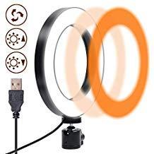Ringlicht, Gemwon LED Ringleuchte 3 Lampen-Modus 360 Grad-Drehung 6 Zoll USB Dimmer Ring Light für Make-up, Live-Streaming, YouTube-Video-Shooting, Fotografie-Beleuchtung
