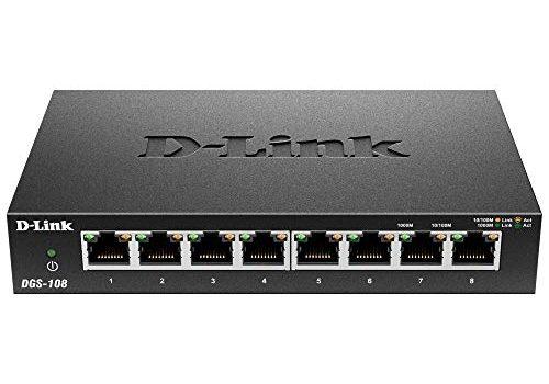 D-Link DGS-108 8-Port Layer2 Gigabit Switch bis zu 2000 Mbit/s Datenübertragung pro Port, Non-Blocking-Architektur, lüfterlos, Metallgehäuse schwarz