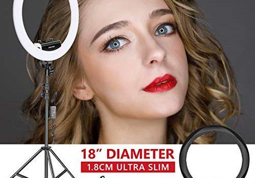 Neewer Beleuchtungs-Ring-Set Dicke 1,8 cm 48 cm, 3200-5600 K, LED Ring Light mit Leuchtfuß, Smartphone-Halterung, Tablet, Gestell für Portrait Make-up Video schwarz