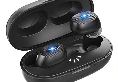 ER-ESTAVEL Bluetooth Kopfhörer True Wireless TWS in Ear Kopfhörer IPX7 Wasserdicht Kabellos mit Mini Ladebox, Auto Pairing, Siri, Bluetooth V5.0 Sport Kopfhörer für Alle Bluetooth-GerätSchwarz