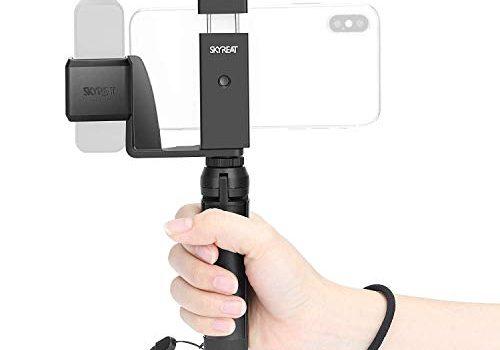 """SKYREAT Hand Grip Phone Holder Stativhalterung für DJI Osmo Pocket Zubehör, mit kaltem Schuh 1/4 """"Gewinde Unterstützung externes Mikrofon und LED-Licht"""