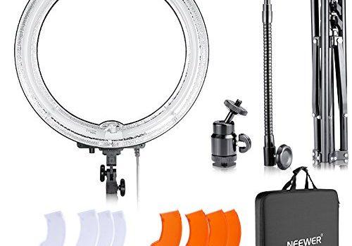 Neewer Dimmbares 18 Zoll Durchmesser 75W 600W gleichwertig Kamera Fotostudio 5500 K Ring Fluoreszierendes Blitzlicht Lampe Kit für Porträt YouTube Video Aufnahmen