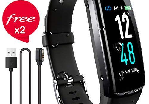 JAZIPO Fitness Armband mit Pulsmesser Blutdruck, Wasserdicht IP67 Fitness Tracker Smartwatch GPS Aktivitätstracker Pulsuhren Blutdruckmesser Vibrationsalarm Anruf SMS für Damen Männer