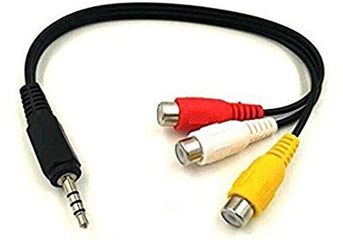 Maxhood Adapterkabel 3,5 mm männlich auf 3 RCA weiblich, 3,5 mm männlich auf 3 Cinch-Buchsen, für AV, Audio, Video, LCD-TV, HDTV, Rot/Gelb / Weiß