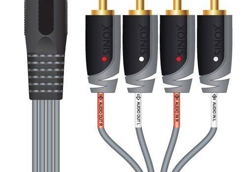 Sinox SXA1800 Cinch Kabel 4 X Din 5 mm weiblich, 0,2 m