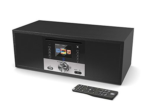 King's Internetradios WiFi-Verbindung, DAB/DAB+/FM Radio, 30W CD-Player, Bluetooth, Fernbedienung, USB Eingang/Aufladen, Aux-in, Dual Wecker und Einstellungen Schwarz