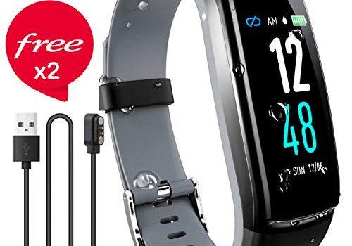 JAZIPO Fitness Armband mit Pulsmesser Blutdruck, Wasserdicht IP68 Fitness Tracker Smartwatch GPS Aktivitätstracker Pulsuhren Blutdruckmesser Vibrationsalarm Anruf SMS für Damen Männer Grau