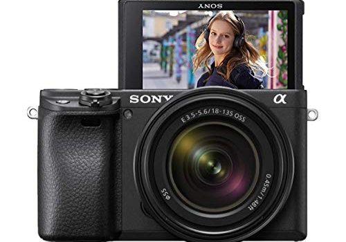 Sony Alpha 6400 E-Mount Systemkamera 24 Megapixel, 4K Video, 180° Klapp-Display, 0.02 Sek. Echtzeit-Autofokus mit 425 Kontrast AF-Punkten, XGA OLED Sucher, M-Kit 18-135 mm Objektiv schwarz