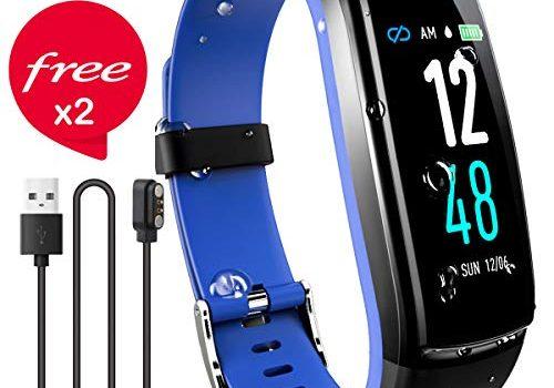 JAZIPO Fitness Armband mit Pulsmesser Blutdruck, Wasserdicht IP68 Fitness Tracker Smartwatch GPS Aktivitätstracker Pulsuhren Blutdruckmesser Vibrationsalarm Anruf SMS für Damen Männer Blau