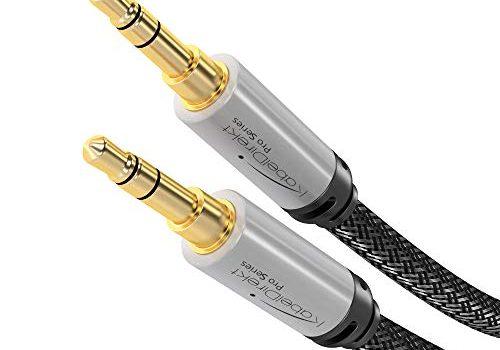 3m – Aux Kabel – Audio Stereo Klinkenkabel mit 3.5mm Klinkenstecker, geeignet für Kopfhörer, Smartphones, Notebooks, MP3 Player oder den Aux Eingang im Auto, Nylon, silber – KabelDirekt