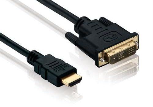 vergoldete Kontakte – Full-HD 1080p Schwarz 2m – rocabo 1098.0 Kabel – HDMI Stecker Typ A 19 Pol auf DVI-D Stecker 18+1 – High-Speed