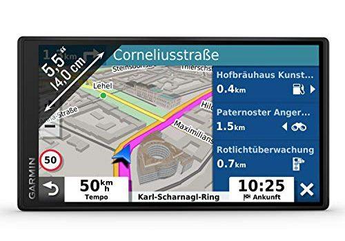 Garmin DriveSmart 55 MT-D EU Navi – Rahmenloses Touch-Display, 3D-Navigationskarten und Live-Traffic Via DAB+