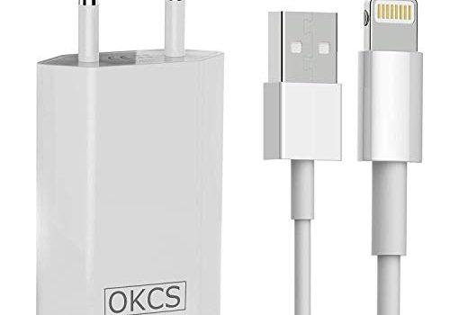 OKCS Ladeset USB Ladekabel mit Netzteil 1000 mAh 2 Meter kompatibel mit iPhone XS, XR, XR Max, X, 8, 8 Plus, 7, 7 Plus, iPad 4, Pro, Mini, 2 – in Weiß