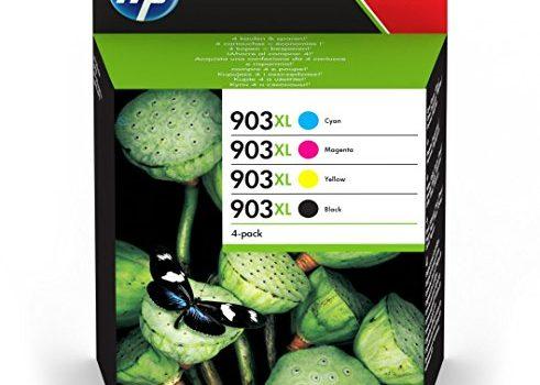 HP 903XL Multipack Schwarz, Rot, Gelb, Blau Original Druckerpatronen mit hoher Reichweite für HP Officejet 6950; HP Officejet Pro 6960, 6970