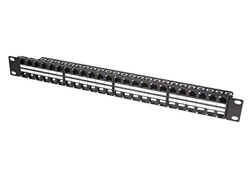LogiLink NK4045 Keystone Patchpanel/Verteilerfeld für 48 Buchsen, ungeschirmt, 1 HE Höheneinheit schwarz