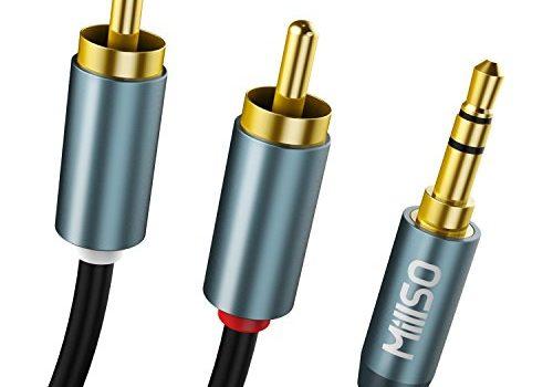 MillSO Klinke auf Cinch Kabel 5m 3,5mm Klinke auf 2X RCA Chinch Stecker Stereo Audio Kabel 24K Vergoldet